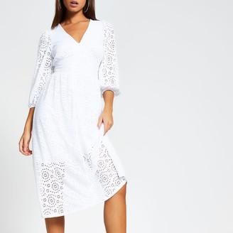 River Island Womens White broderie long sleeve smock midi dress