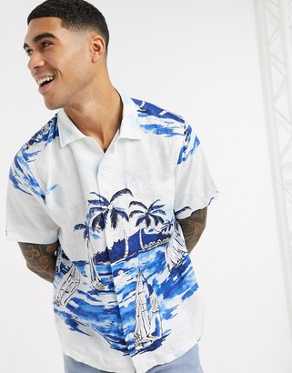Polo Ralph Lauren short sleeve sailboat island print linen shirt cuban revere collar in white