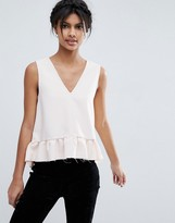 Asos Dip Hem Ruffle Tank with Raw Edge