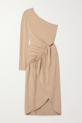 Cushnie One-sleeve Ruched Stretch-crepe Midi Dress - Sand
