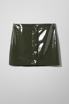 Weekday Wynter Patent Skirt - Green