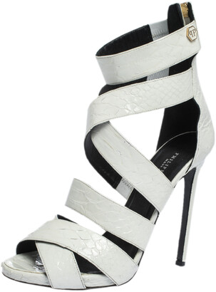 Philipp Plein White Python Embossed Leather Caged Open Toe Sandals Size 38