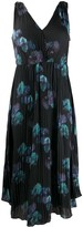 Vince abstract print pleated dress