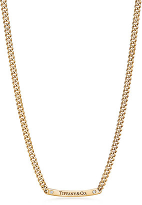 """Tiffany & Co. micro link necklace in 18k gold with diamonds, 16""""."""