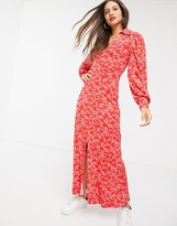 Asos DESIGN long sleeve western shirt dress in ditsy print in red