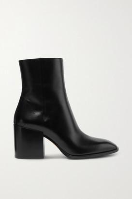 AEYDĒ Leandra Leather Ankle Boots - Black