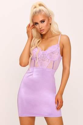 I SAW IT FIRST Lilac Lace Bustier Mini Dress