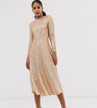 TFNC Tall A-line sequin midi dress in rose gold
