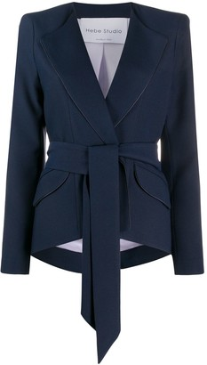 Hebe Studio Tie Waist Structured Shoulder Blazer
