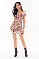 Nasty Gal Womens I'd Gather Be Right Floral Mini Dress - Beige - 10