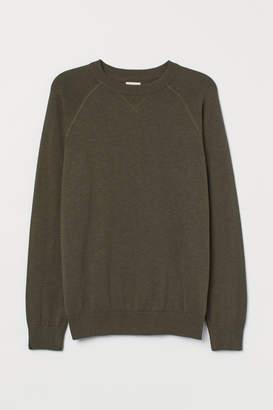 H&M Cotton Raglan-sleeved Sweater - Green