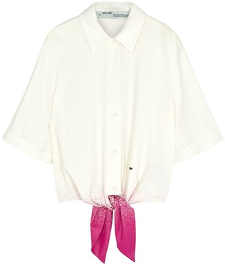 Off-White White and pink paint-effect shirt