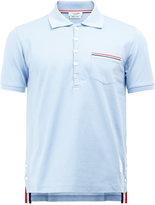 Thom Browne striped trim polo shirt - men - Cotton/Nylon/Polyurethane - 0