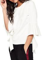 Miss Selfridge Solid Ruffle-Sleeve Top