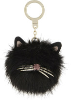 Kate Spade Faux-fur and leather cat pouf key ring