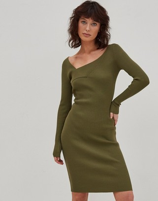 4th & Reckless knitted cross front jumper dress in khaki