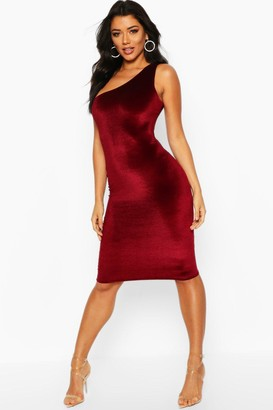 boohoo Velvet One Shoulder Midi Christmas Party Dress