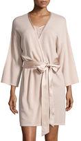 Neiman Marcus Short Silk-Trimmed Cashmere Robe