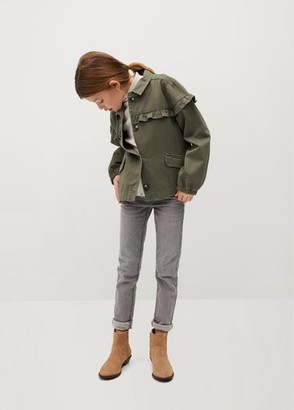 MANGO Puff sleeve ruffle jacket khaki - 6 - Kids