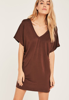 Missguided Brown Petite Wide Neck T-Shirt Dress