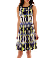 London Times London Style Collection Sleeveless Geo Print Fit-and-Flare Dress