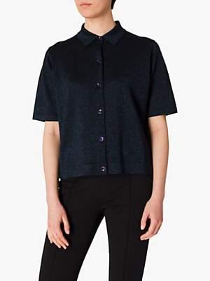 Paul Smith Metallic Polo Knit Top, Black