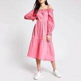 River Island Pink long sleeve bardot midi dress