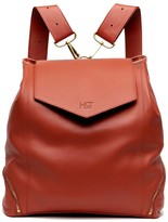 The Professional Leather Backpack Purse In Orange