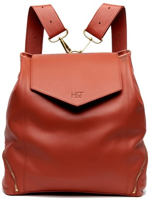 Holly & Tanager The Professional Leather Backpack Purse In Orange