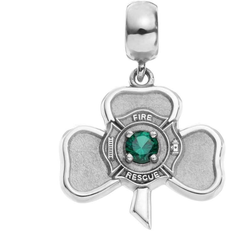 Insignia Collection Simulated Emerald Sterling Silver Irish Shamrock Maltese Cross Charm