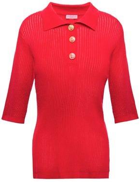 Claudie Pierlot Button-detailed Ribbed Cotton-blend Top