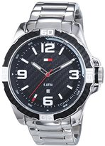Tommy Hilfiger Men's 1791092 Silver Stainless-Steel Analog Quartz Watch with Black Dial