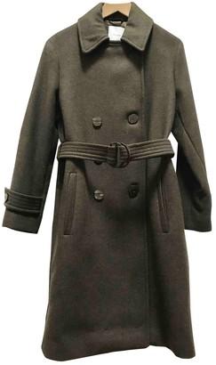 MANGO Khaki Wool Coat for Women
