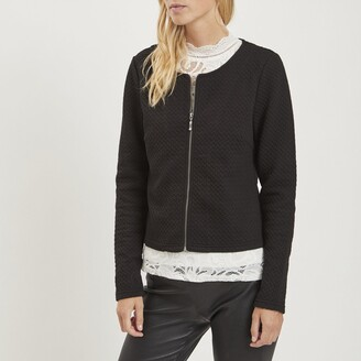 Vila Short Collarless Quilted Jacket