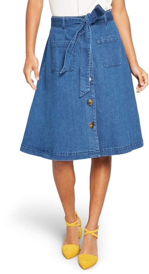ModCloth Sash Belted A-Line Denim Skirt