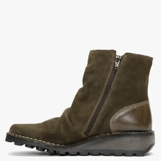 Fly London Monty Sludge Olive Suede & Leather Side Zip Wedge Boots
