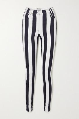 Balmain Striped High-rise Skinny Jeans - White