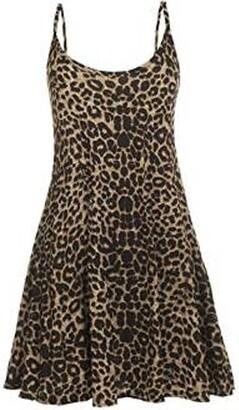 GirlsWalk Women's Strappy Leopard Print Cami Swing Dress - beige - 8-10.