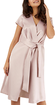 Closet Pleated Front Tie Wrap Dress, Pink