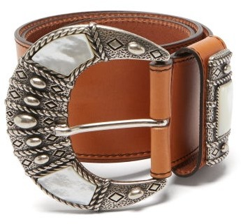 Etro Mother-of-pearl Inlay Leather Belt - Tan Multi