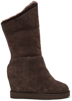 Australia Luxe Collective Cosy Shearling Lined Tall Wedge Boot in Chocolate Brown