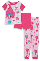 AME Sleepwear Little Girls Trolls Pajama Tee, Shorts and Pants Set