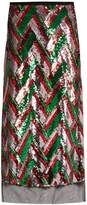 Gucci Sequin-embellished chevron midi skirt