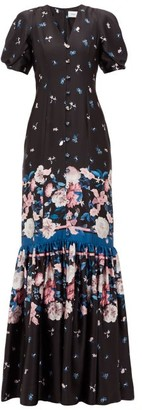 Erdem Rosetta Dusk Bouquet-print Silk Dress - Black Pink