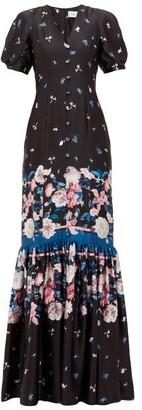Erdem Rosetta Dusk Bouquet-print Silk Dress - Womens - Black Pink