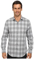 Perry Ellis Long Sleeve Non-Iron Ombre Plaid Pattern Shirt