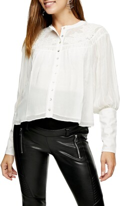Topshop Lace Yoke Neck Blouse