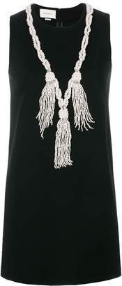 Gucci pearl tassel neckline mini dress