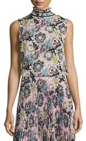 A.L.C. Phoebe Sleeveless Floral Silk Top, Pink/Blue/Mustard