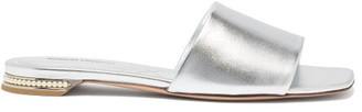 Nicholas Kirkwood Casati Pearl-embellished Leather Slides - Womens - Silver